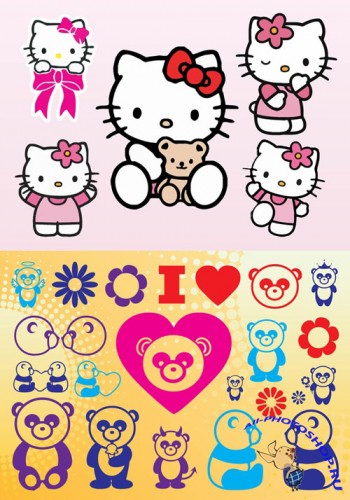 Panda Vectors and Hello Kitty Vectors for Photoshop