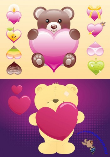 Cute Heart and Bear Vectors For Photoshop