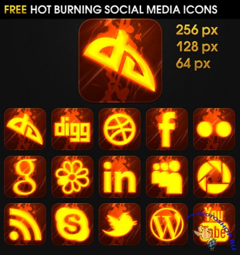 Hot Burning Social Media Icons