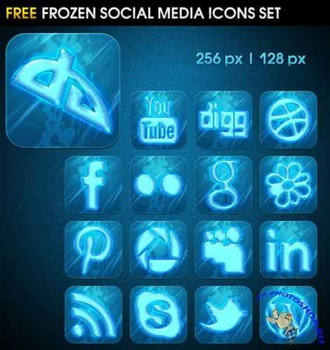 Frozen Social Media Icons Set