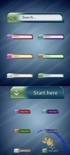 Search Button Blue Vector For Photoshop
