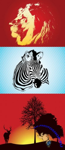Zebra and Lion Face Vector for Photoshop