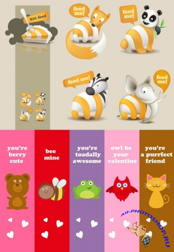 Vector Love Bookmarks and Vector Feed Illustrations