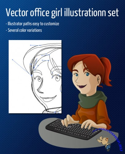 Vector Office Girl Character