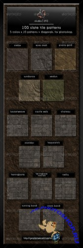 GraphicRiver - 100 (5x10x2) Slate Paving Tile Patterns