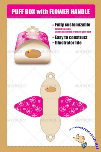 GraphicRiver - Puff Box Template with Flower Handle 2418442