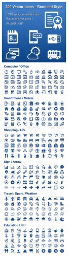 GraphicRiver - 300 Vector Icons - Rounded Style 2316791