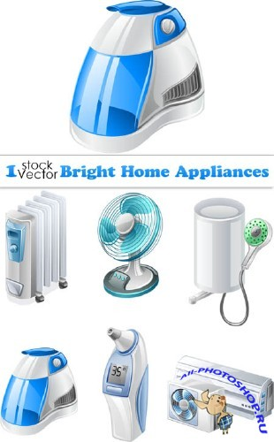 Bright Home Appliances Vector