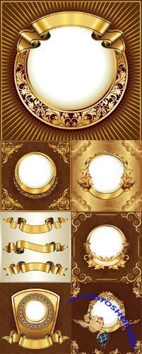 Gold ribbon with a gold leaf frame (vector)