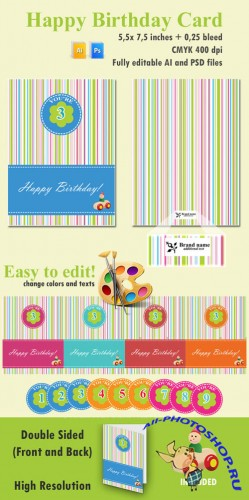 Vector - Happy Birthday Card Pack