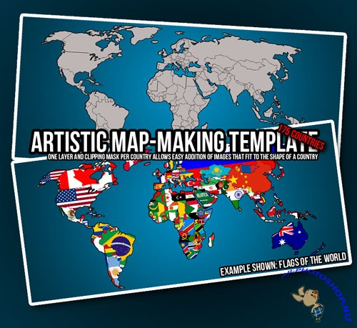 PSD Template - Artistic Map-Making