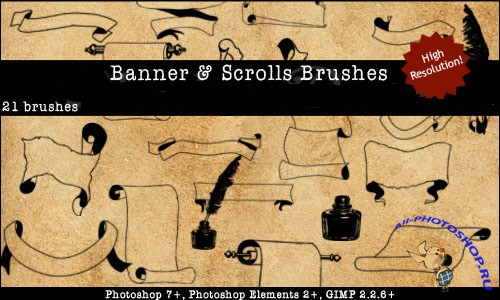 Banners Scrolls Brushes