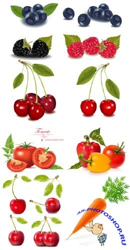 Photo-realistic Fruit and Vegetables - Stock Vectors