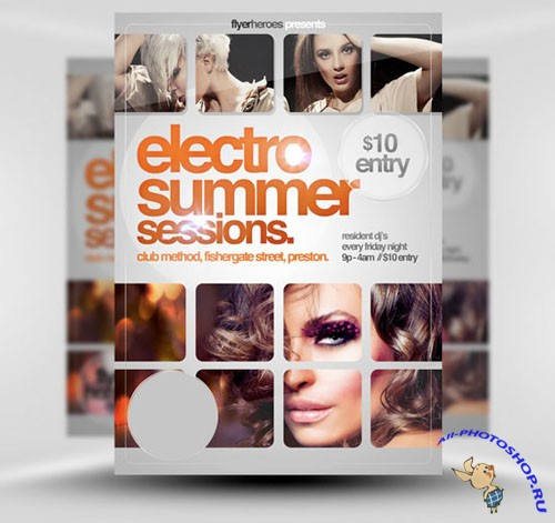 PSD Template - Electro Summer Sessions Flyer/Poster