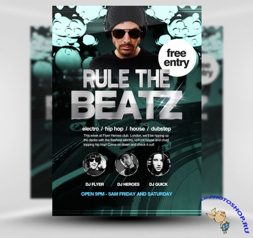 PSD Template - Rule the Beatz Flyer/Poster