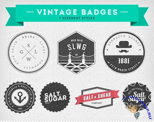 PSD Template - Insignias Vintage Badges