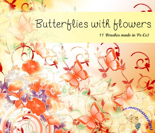 Butterflies with Flowers Brushes
