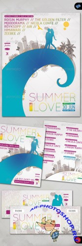 GraphicRiver - Summer of Love - Poster, Flyer, Ticket Set 165699
