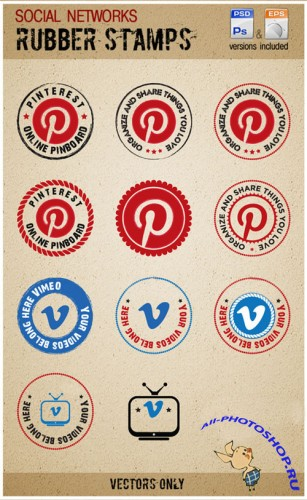 PSD Template - Vimeo and Pinterest Rubber Stamps