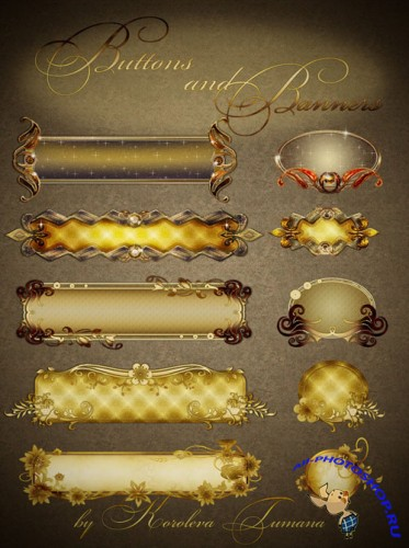 PNG Clipart - Buttons and Banners in a Golden Vintage Style