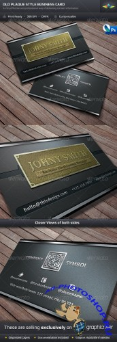 GraphicRiver - Old Style Plaque Business Card Template 1332437