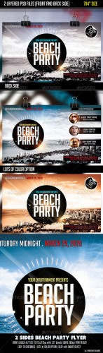GraphicRiver - 2 Sides Beach Party Flyer-Front & Back 2724190