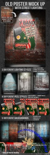 GraphicRiver - Old Poster Mock Up with Street Lighting 1566026