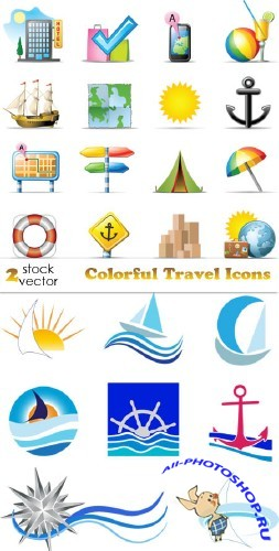 Colorful Travel Icons, vectors