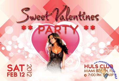 PSD Template - Sweet Valentines Party Flyer/Poster