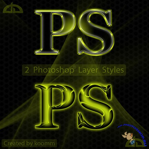 Green Hollow Styles for Photoshop
