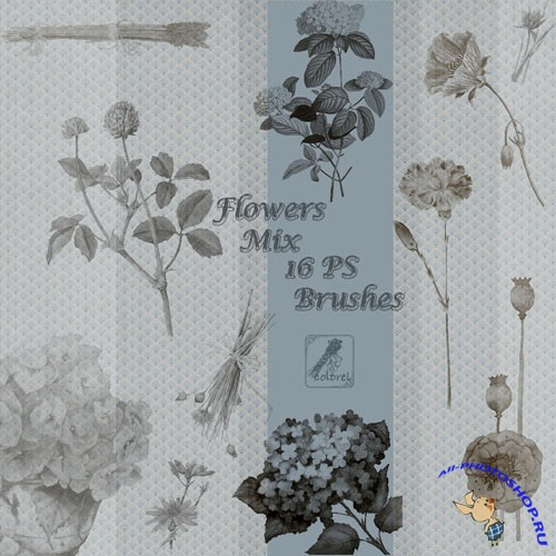 16 Flowers Mix Brushes for Photoshop