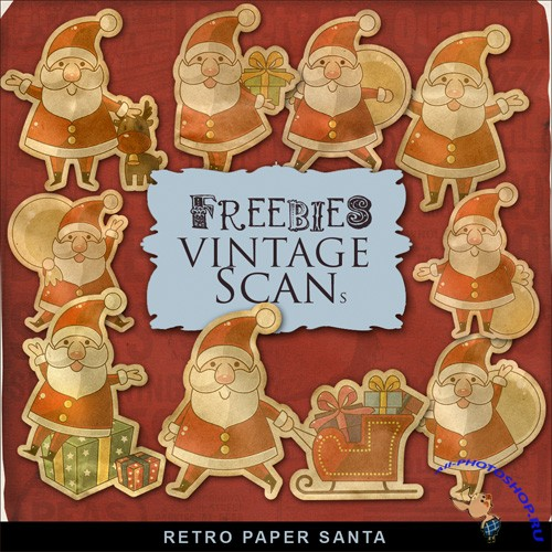 Scrap-kit - Retro Style Paper Santa