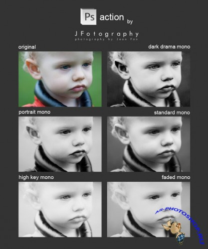 Monochrome Effects Actions for Photoshop