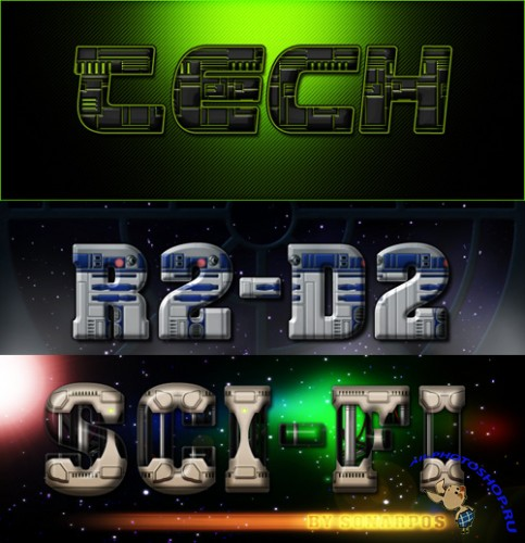 3 PS Styles - r2 d2, Tech and Sci-fi