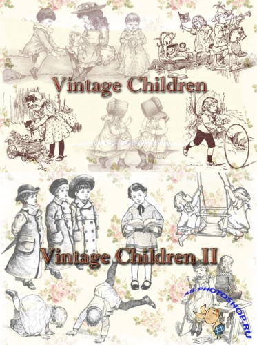 Photoshop Brushes - Vintage Children 1 & 2