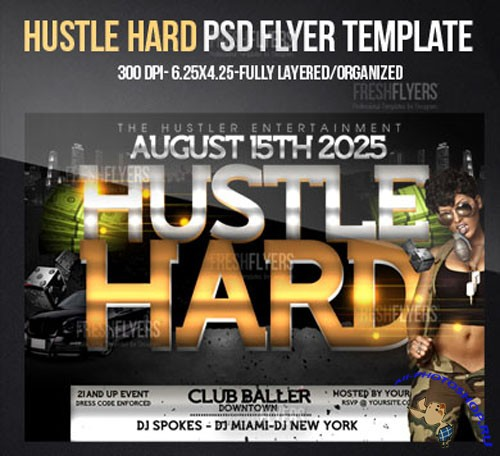Hustle Hard Flyer/Poster PSD Template