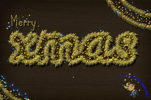Golden Tinsel Christmas Text Effect Photoshop Styles