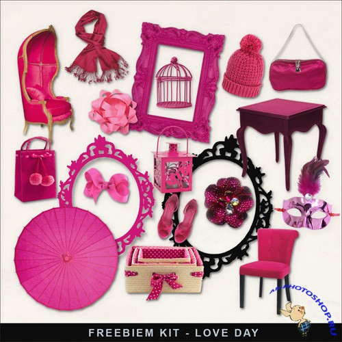 Scrap-kit - Love Day. Pink Color Glamour PNG Images