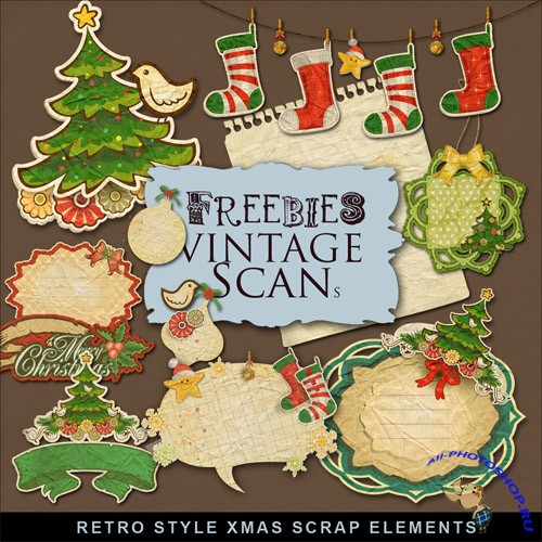 Scrap-kit - Retro Style X-Mas Elements