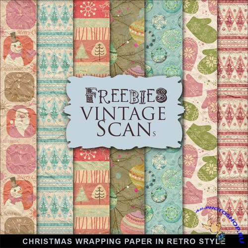 Textures - Christmas Wrapping Paper In Retro Style