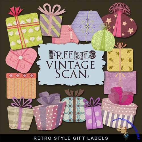 Scrap-kit - Retro Style Gift Labels
