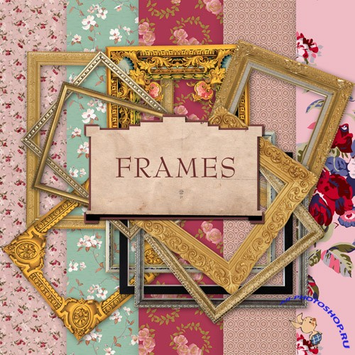 Scrap-set - Old Vintage Cluster Frames And Papers