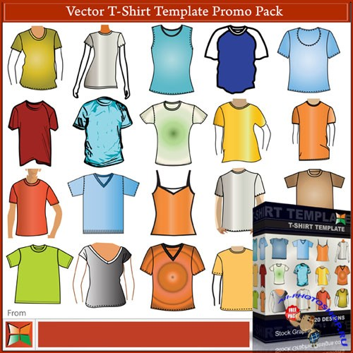 20 Apparel T-shirt Templates Vector Pack