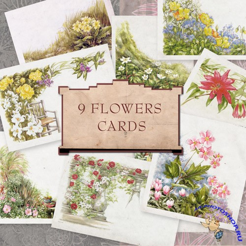 Scrap-kit - 9 Flowers Postcards 2