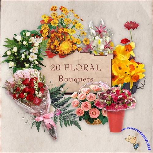 Scrap-kit - 20 Floral Bouquest