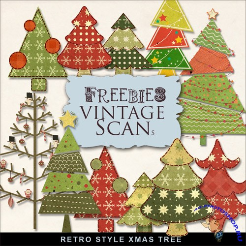 Scrap-kit - Retro Style Xmas Tree