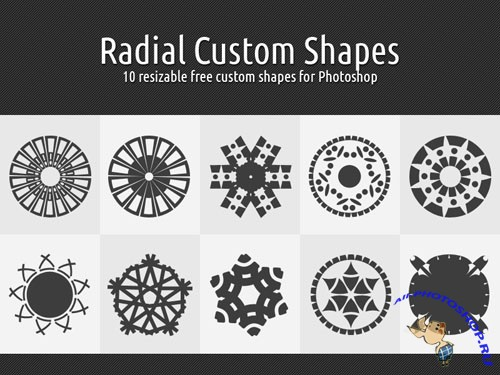 Radial Custom Photoshop Shapes