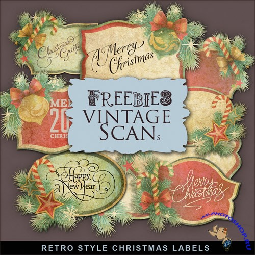 Scrap-kit - Retro Style Christmas Labels