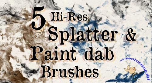 5 Splatter and Paint Dabs Photoshop Brushes