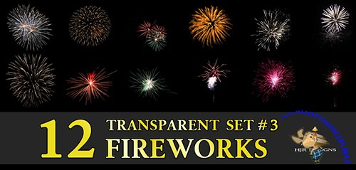 12 Transparent Fireworks Clipart Set 3